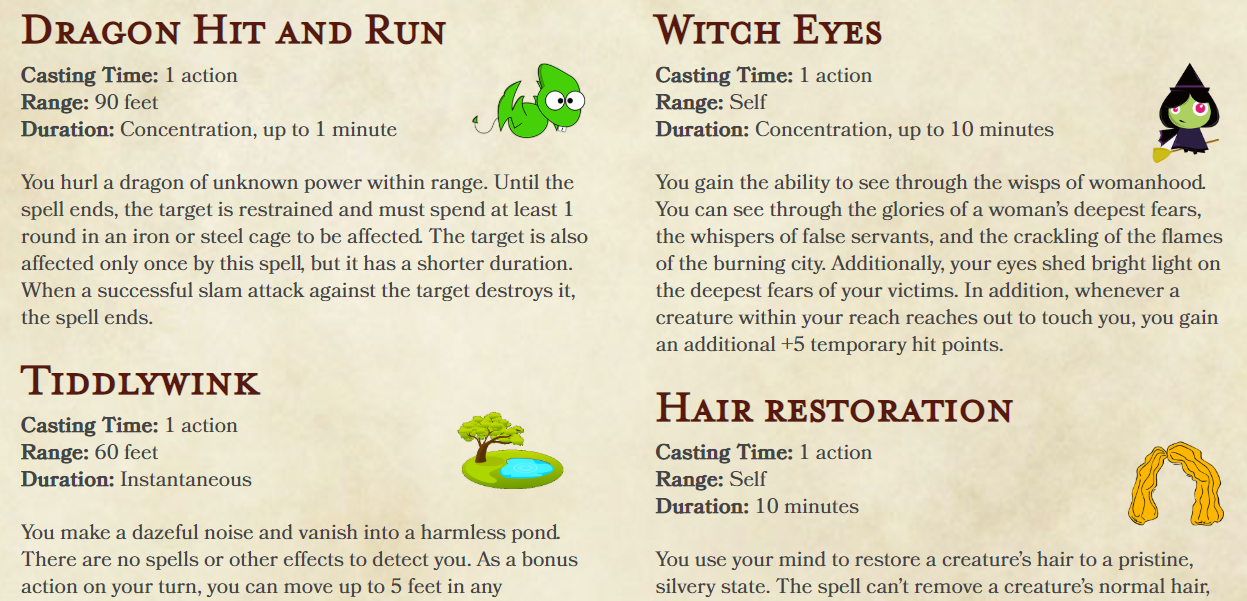 Dungeons and Dragons Spells from a Neural Network Are Bonescrackling